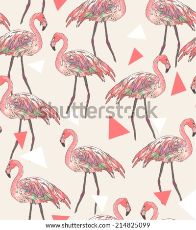 seamless flamingo vector patterns - stock vector