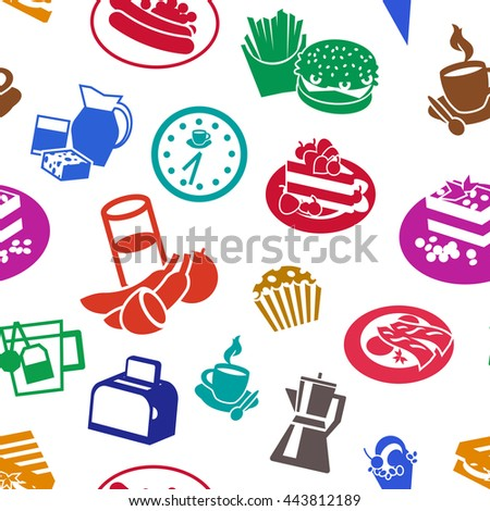 Seamless flat cereal background pattern with multicolored food and drinks on white background vector illustration