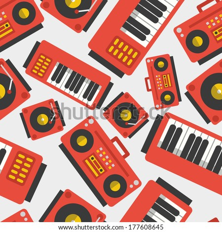 Seamless flat music pattern. Boombox, vinyl player, piano/synthesizer. - stock vector