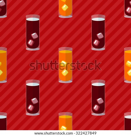 Seamless flat pattern with transparent cocktail glasses and ice - stock vector