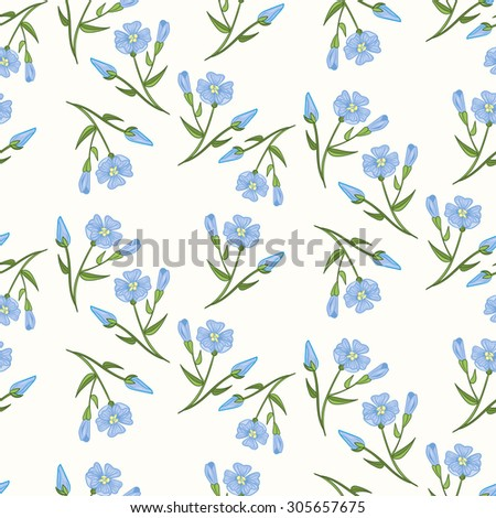 Seamless flax plant  pattern, vector flower background. Seamless texture for print, fashion, textile, fabric, home decor, shop website, label. Vector illustration - stock vector