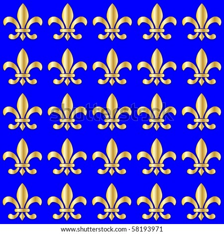 Seamless Fleur de Lis on a blue background - stock vector