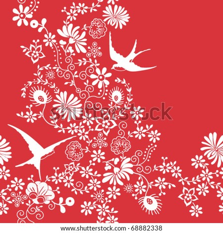 Seamless Floral and Birds Pattern - stock vector
