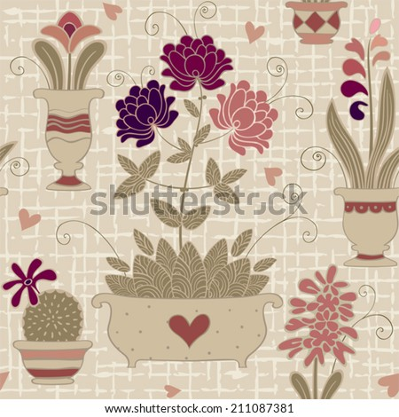 Seamless floral background. Abstract flowers in a flowerpots. Vector illustration. - stock vector