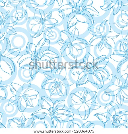 Seamless floral background, blue silhouette lily flowers and circles on white. Vector