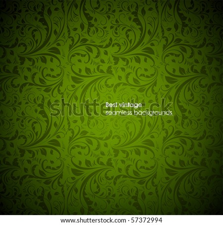 seamless floral background green - stock vector