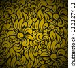Seamless Floral Background Pattern. Gold flowers on Black - stock vector