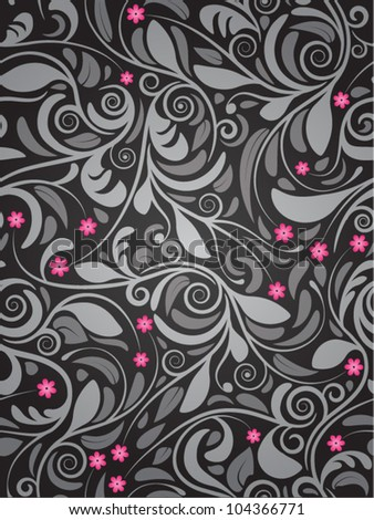 Seamless floral background pink flowers - stock vector