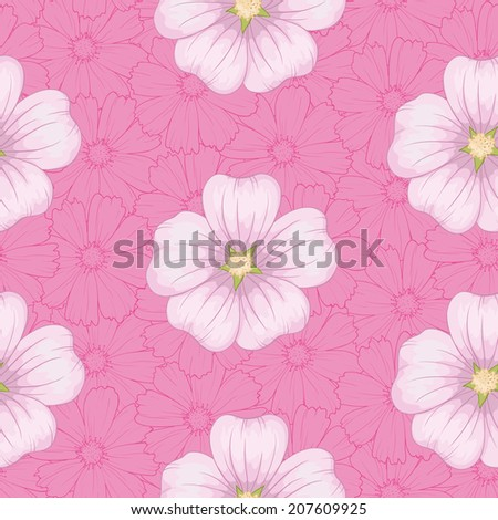 Seamless floral background, pink mallow flowers and cosmos contours. Vector - stock vector