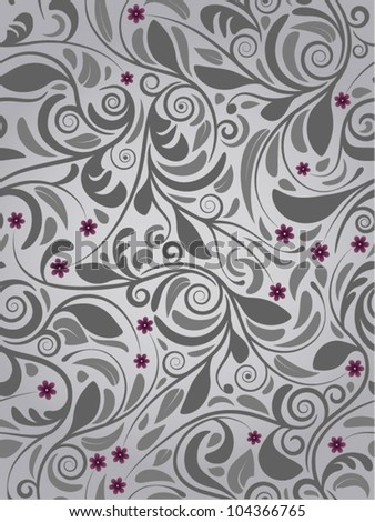 Seamless floral background purple flowers - stock vector
