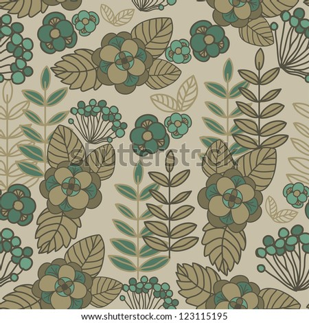 seamless floral background sand-colored - stock vector