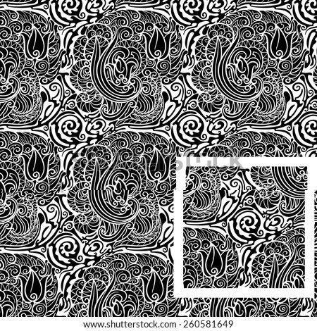 Seamless floral background Twisted elements, floral motifs in black and white version - stock vector