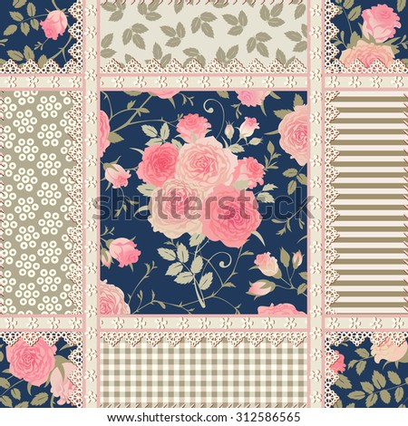 Seamless floral background. Vector pattern with roses and laces. Patchwork checkered ornament. - stock vector