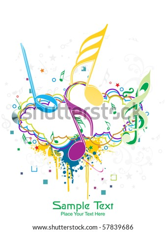 seamless floral background with colorful grunge, musical notes - stock vector