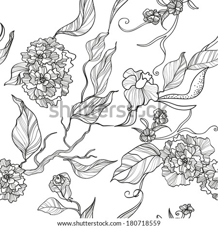 seamless floral background with flowers and leaves on blank background - stock vector