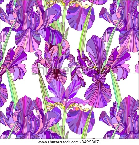 seamless floral background with irises - stock vector