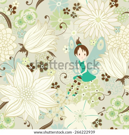 Seamless floral background with little fairy in the flowering garden. Vector illustration. - stock vector