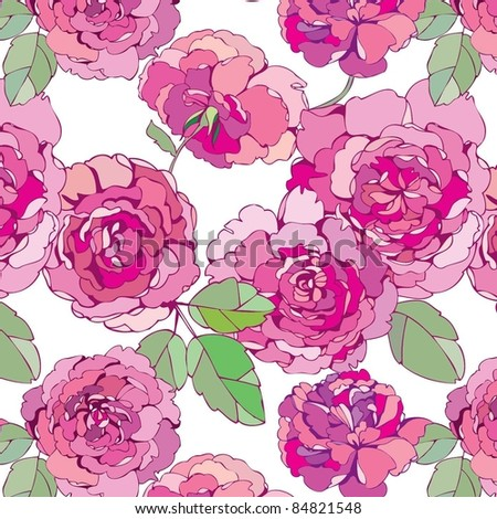 seamless floral background with pink peonies - stock vector