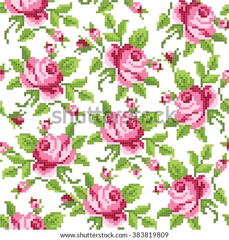 seamless  floral   background with roses, embroidery - stock vector