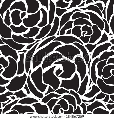 Seamless floral background with stylized monochrome roses. Abstract vintage background with floral retro element. Vector illustration - stock vector