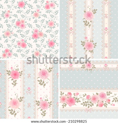 Seamless floral backgrounds and borders. Set of vector patterns with roses, laces and bows. Shabby chic style. Polka dots ornaments.  - stock vector