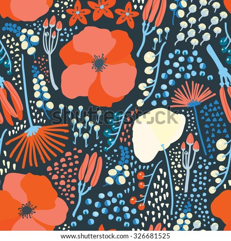 Seamless floral blossom colorful pattern vector - stock vector