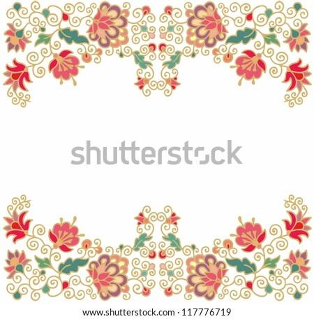 seamless floral border - stock vector