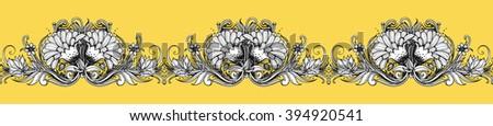 Seamless floral border. Vector design. Flourish frame. Botanical illustration with dahlia, chrysanthemum, mums, aster, marigold flowers, leaves. Repeating retro vintage background. Ornamental pattern - stock vector