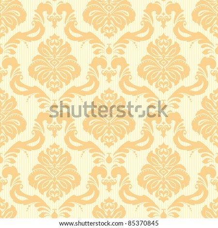 Seamless floral classic damask striped wallpaper in yellow - stock vector