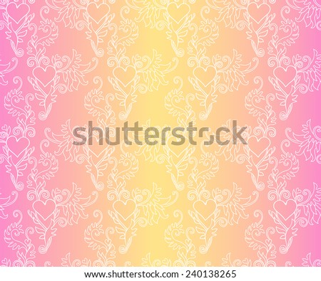 Seamless floral colorful pattern with hearts and baroque ornamental elements. Can be used for cards, invitations, fabrics, wallpapers, scrap-booking, ornamental template for design and decoration, etc