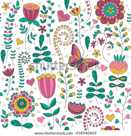 Seamless floral colorful vector pattern. Hand drawn Different floral elements, hearts and butterfly. Perfect for greetings, invitations, manufacture wrapping paper, textile, wedding and web design.