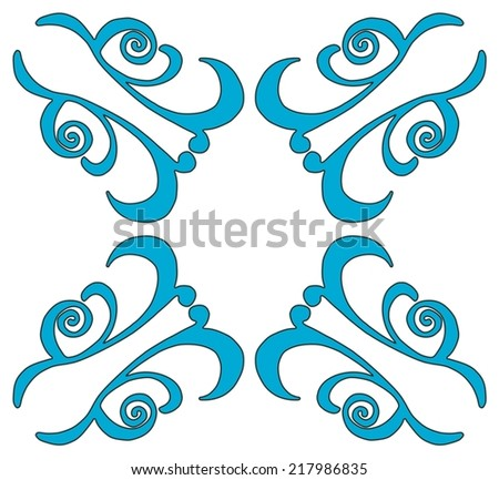 Seamless floral contour pattern in turquoise