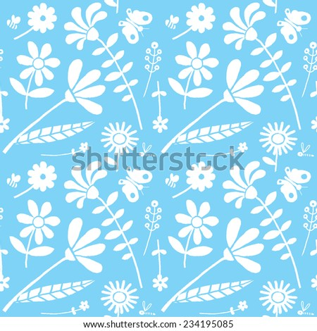 Seamless floral drawing pattern, textured background. Spring, summer nature pattern with butterflies, flowers.  - stock vector