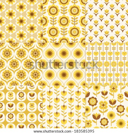 seamless floral fabric pattern - stock vector