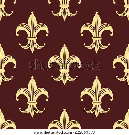 Seamless floral fleur-de-lis royal yellow and gold lily pattern, isolated  on dark red  colored background. For wallpaper, tiles and fabric design - stock vector