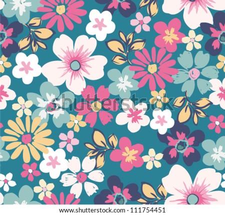 seamless floral garden seamless patterm - stock vector