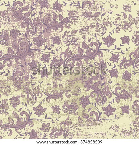 Seamless floral grunge background,vector floral illustration in vintage style   - stock vector