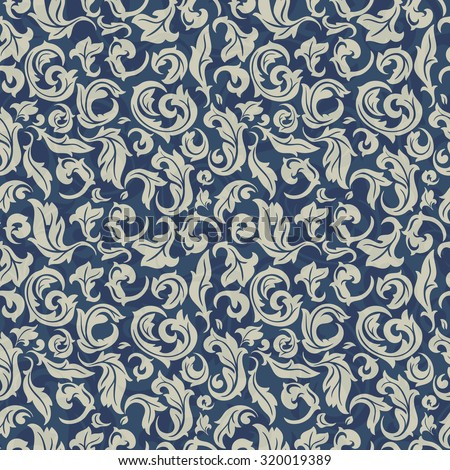 Seamless floral hand drawn background of beige and blue, abstract floral template for design
