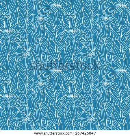 Seamless floral hand-drawn pattern - stock vector