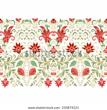 Seamless floral laced border ornament - stock vector