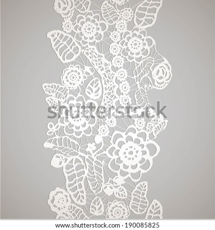 seamless floral ornament looks like white lace. Vector illustration - stock vector