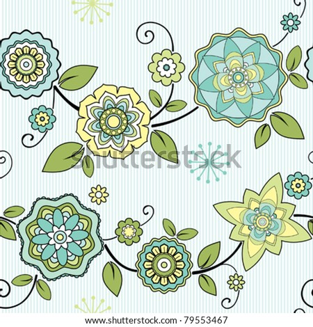 seamless floral ornamental background with decorative flowers - stock vector