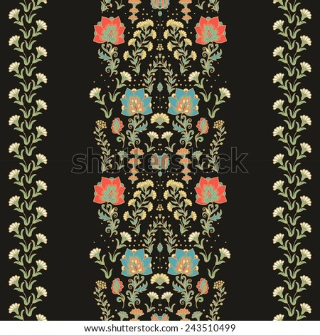 Seamless floral ornamental ribbon - stock vector