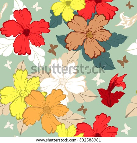 Seamless Floral Ornate Multicolor  Pattern. Very Cute Background Design With Butterflies. Ideal for Textile Print and Decorative Wallpaper. Vector Illustration. - stock vector