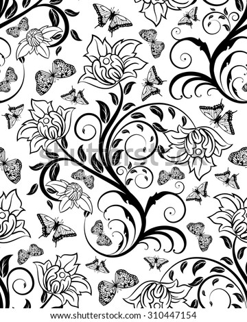 Seamless Floral Ornate Pattern In Black And White Colors Very Cute Background Design With Butterflies
