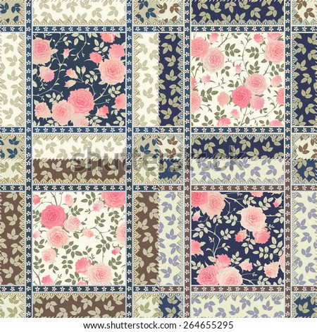 Seamless floral patchwork pattern. Vector checkered backgrounds set. Abstract textures with roses, leaves and laces. - stock vector