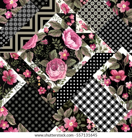 seamless floral patchwork pattern with geometrical elements