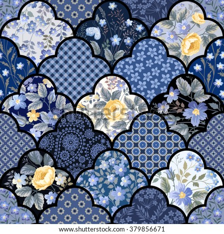 seamless floral patchwork pattern with roses and meadow flowers - stock vector