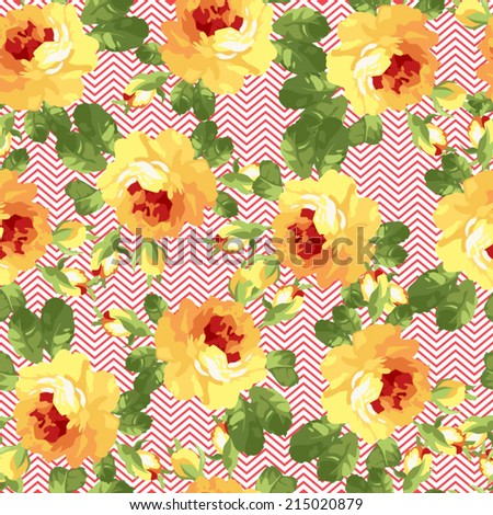 Seamless floral patter with yellow roses and chevron. Use to create fabric projects, greeting Cards or design elements for scrap booking.   - stock vector