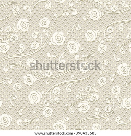 Seamless floral pattern. Abstract mesh texture with roses and leaves. Vector monochrome background. - stock vector